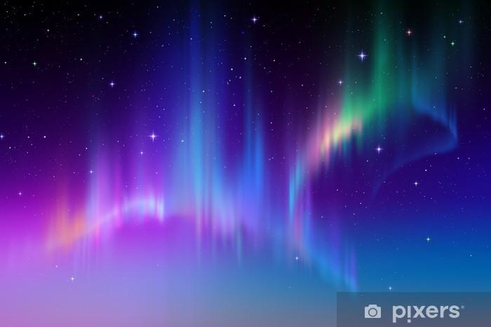 Papier peint vinyle Aurora Borealis dans le ciel étoilé polaire, illustration -