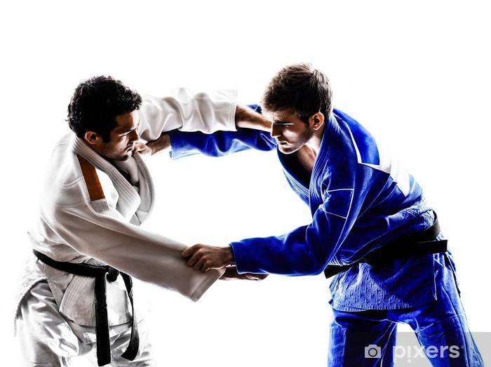 Papier peint vinyle Judokas combattants luttant hommes silhouette - Thèmes