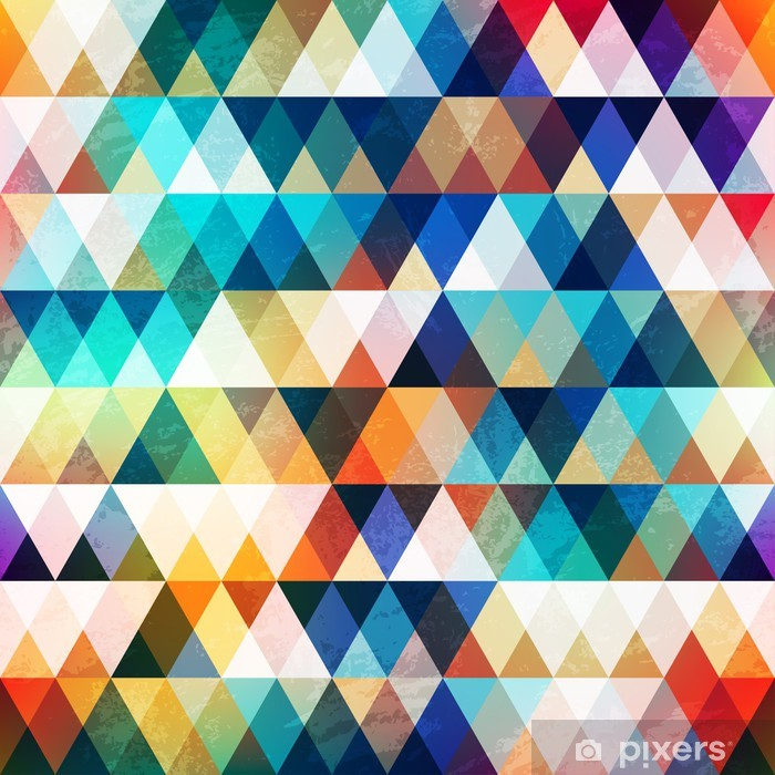 bright triangle seamless pattern with grunge effect Vinyl Wall Mural - Themes