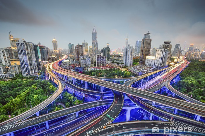 Shanghai, China Highways and Cityscape Vinyl Wall Mural - Asian Cities
