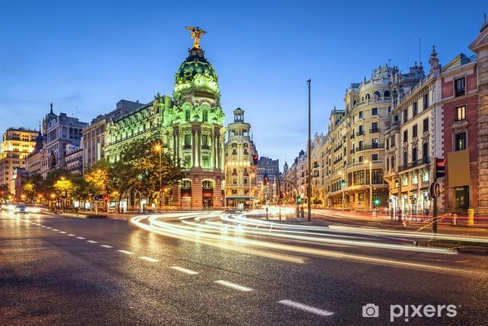 Sticker Pixerstick Madrid, Espagne Gran Via rue commerçante Paysage urbain - Villes européennes