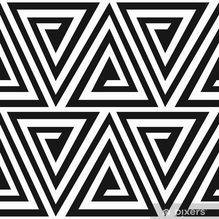 Vinylová fototapeta Monochromatický starověkých trojúhelník spirála bezešvé vzor - Vinylová fototapeta