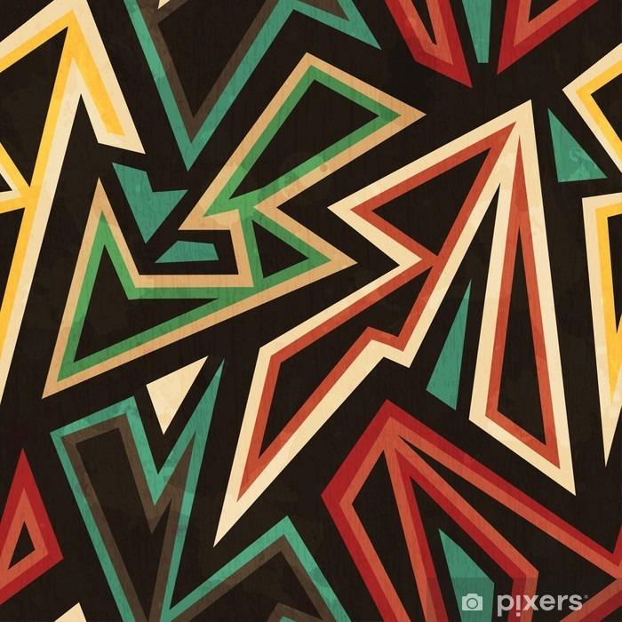 Nálepka na skříň Kmenový geometrický bezešvé vzor s grunge efekt - Grafika