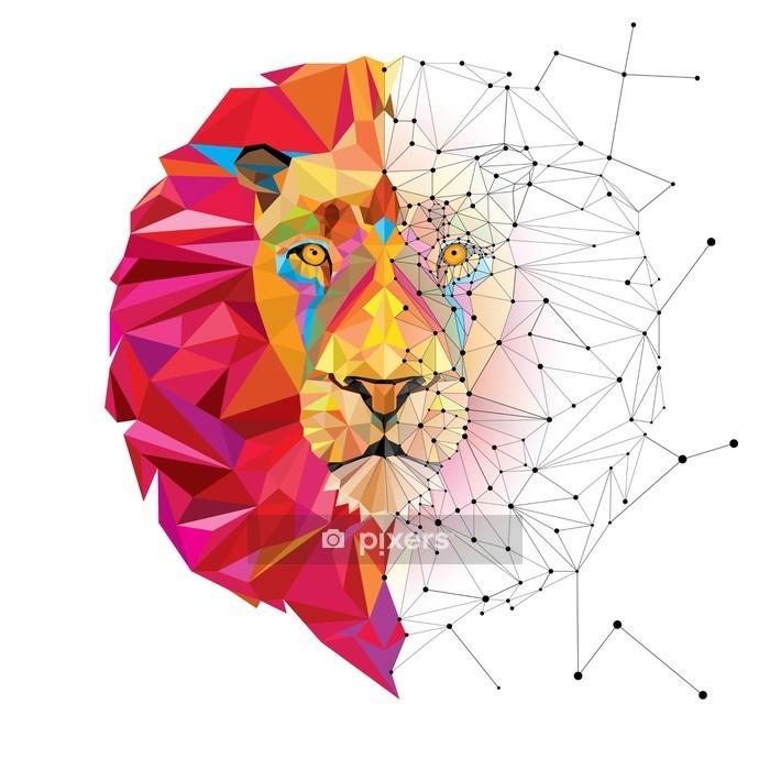 Muursticker Leeuwenkop in geometrische patroon met ster lijn vector - Andere Andere