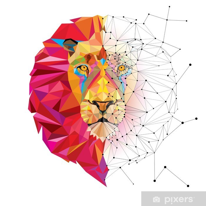 Lion head in geometric pattern with star line vector Pixerstick Sticker - Other Other