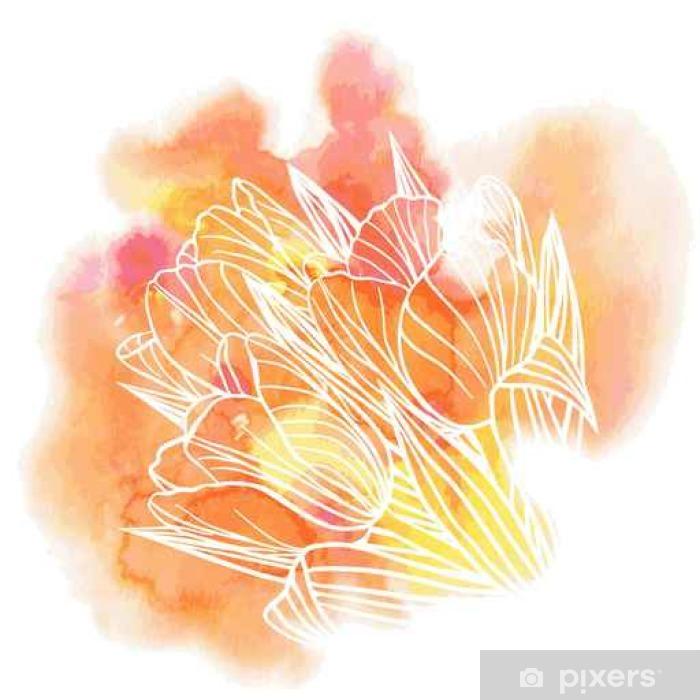 Plakat Tulipan kwiaty na tle akwareli - Rośliny i kwiaty
