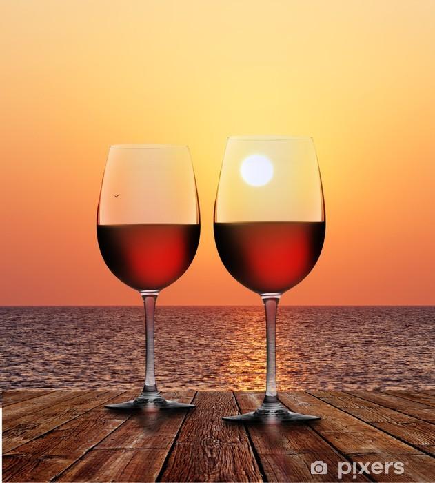 Fototapeta winylowa Czerwone wino o zachodzie słońca - Alkohol