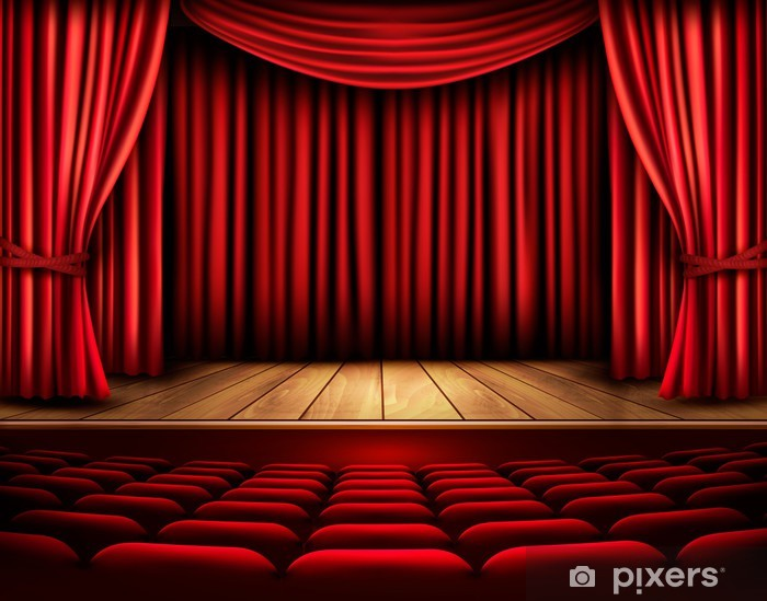 Cinema or theater scene with a curtain. Vector. Pixerstick Sticker - Backgrounds