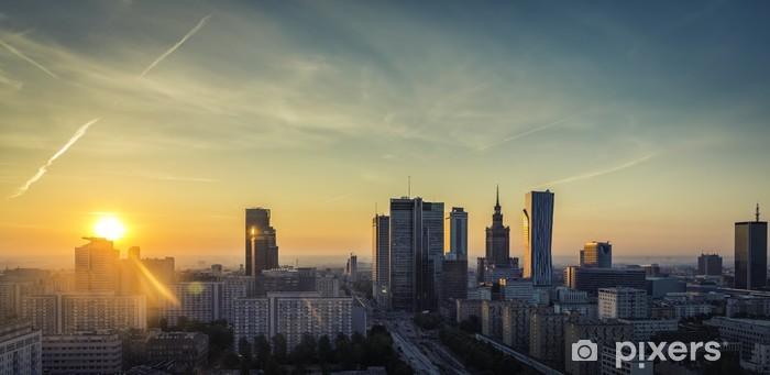 Fototapeta winylowa Warszawa śródmieście wschód słońca widok z lotu ptaka, Polska - Tematy