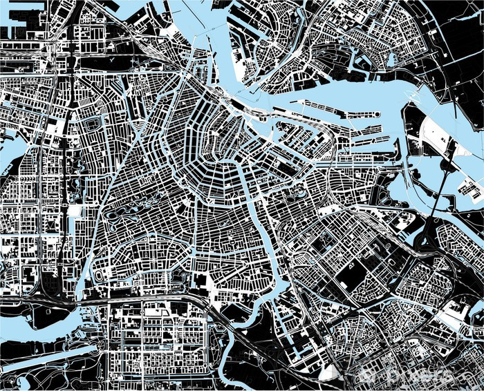 black and white amsterdam city map Vinyl Wall Mural - European Cities