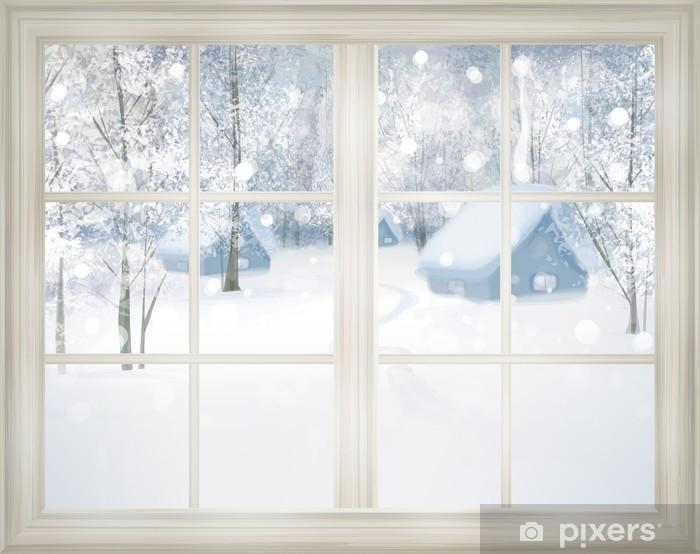 Fototapeta winylowa Okno z widokiem na zimowym tle śniegu. - Tematy