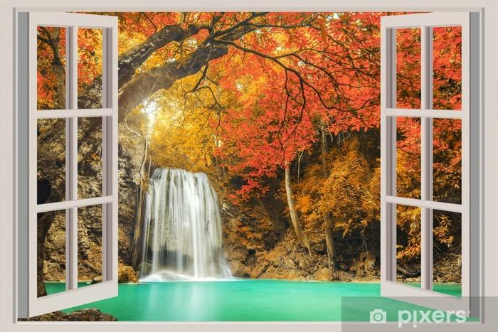 Sticker Pixerstick La fenêtre ouverte, avec vue sur la cascade - Thèmes