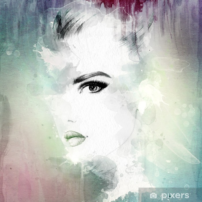 woman face . abstract watercolor illustration Poster - Women