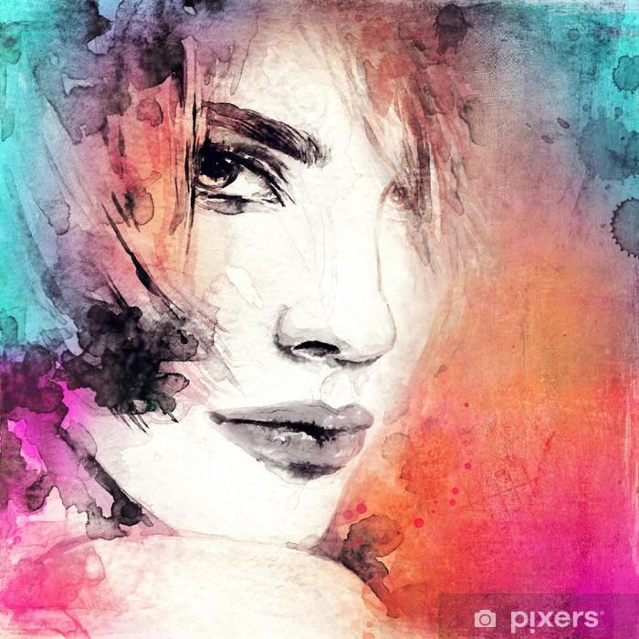 Poster Visage de femme. Peint à la main illustration de mode - Femmes