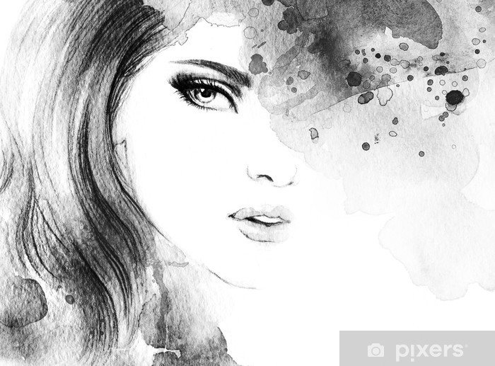 Woman face. Hand painted fashion illustration Vinyl Wall Mural - Women