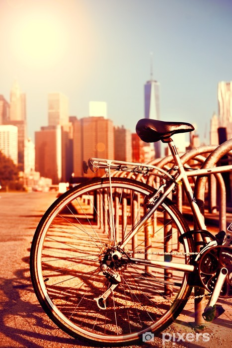 Sticker Pixerstick Vélos et vue Manhattan - Thèmes