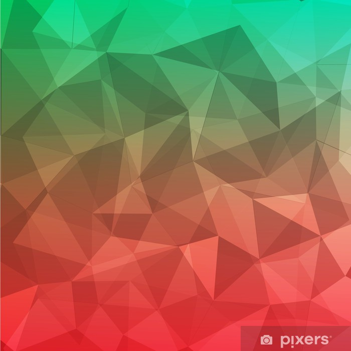 Fotomural Estándar Polígono geométrico abstracto fondo rojo y verde - Fondos