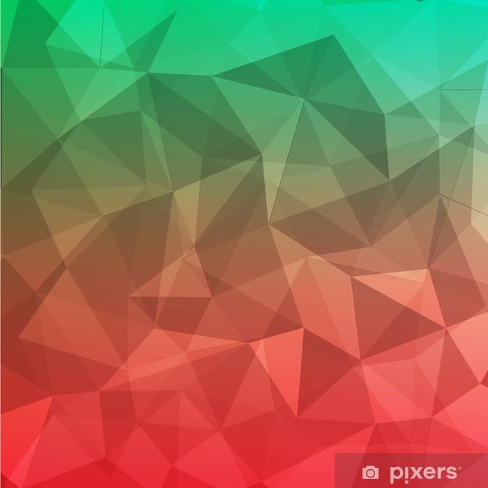 Naklejka Pixerstick Wielokąt geometryczne abstrakcyjne tło czerwone i zielone - Tła