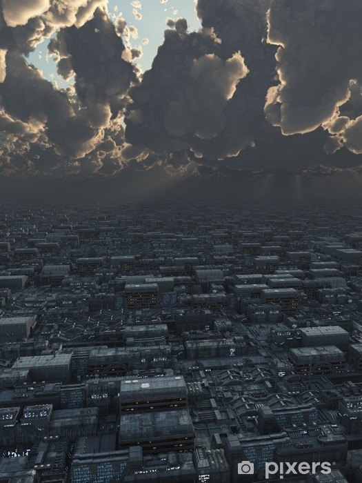 Papier peint vinyle La science-fiction Illustration d'une future ville sous Storm Clouds - Catastrophes naturelles