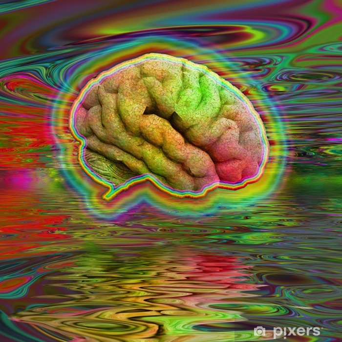 Psychedelic Brain Framed Poster - Addiction