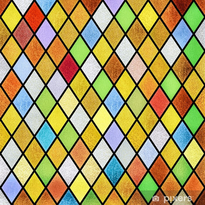 Fototapeta winylowa Kolorowe abstrakcyjne witraże okno w tle - Abstrakcja