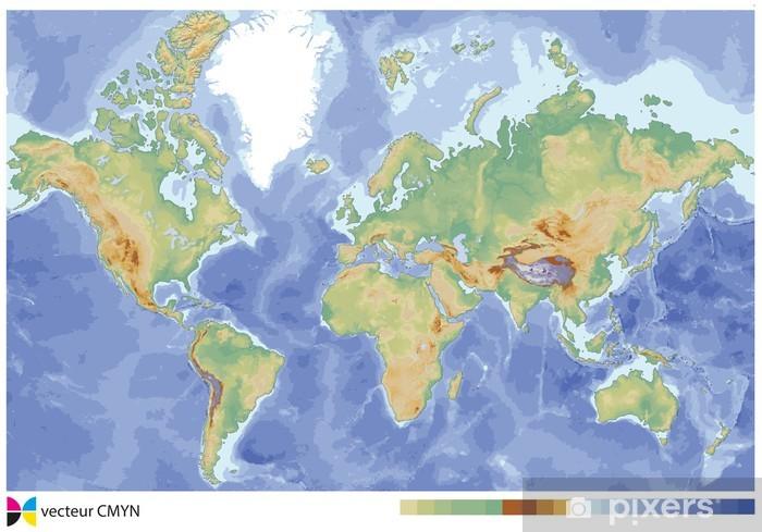 Carte Du Monde Map.Carte Du Monde Relief Wall Mural Vinyl