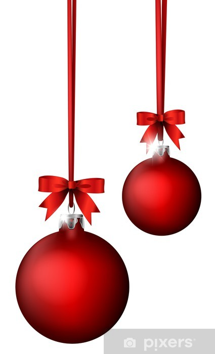 Christmas Balls.Christmas Balls With Ribbon Decoration Wall Mural Vinyl