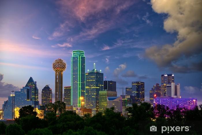 Vinyl Fotobehang Dallas City skyline in de schemering, Texas, USA - Thema's