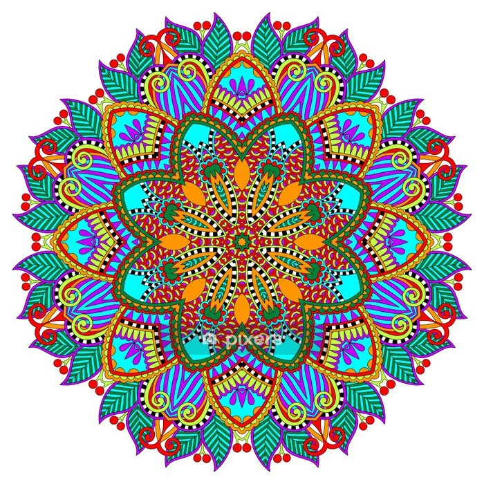 mandala, circle decorative spiritual indian symbol of lotus Wall Decal - Wall decals