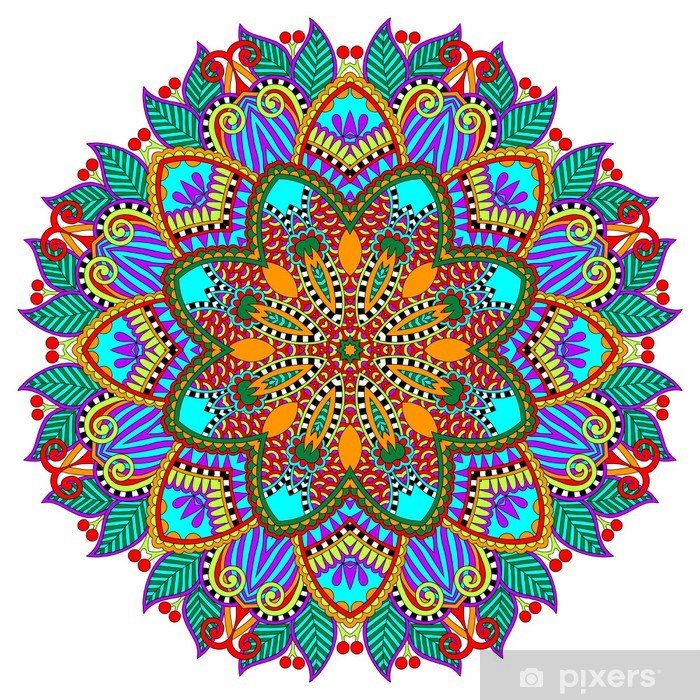 Fototapeta winylowa Mandala, okrąg dekoracyjny duchowy indyjski symbol lotosu - Naklejki na ścianę