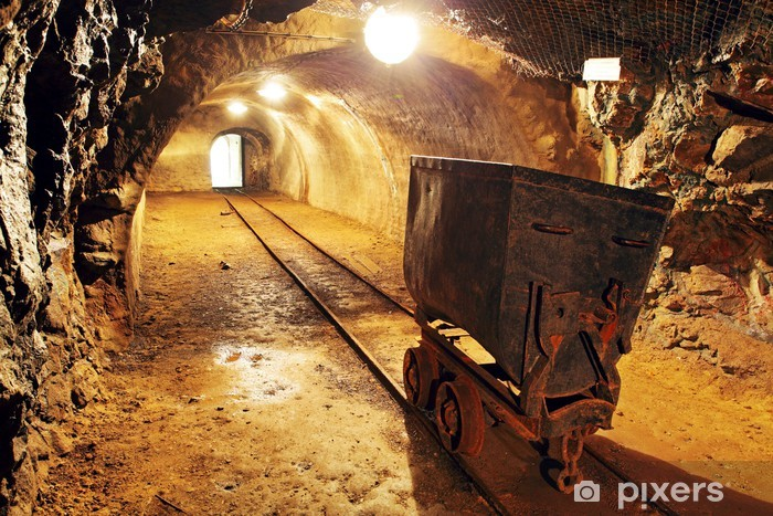 Underground train in mine, carts in gold, silver and copper mine Vinyl Wall Mural - Raw Materials