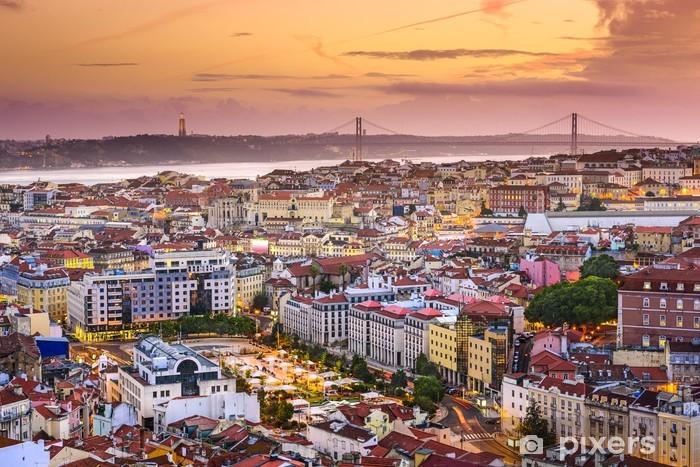 Lisbon, Portugal Skyline at Dusk Pixerstick Sticker - Themes