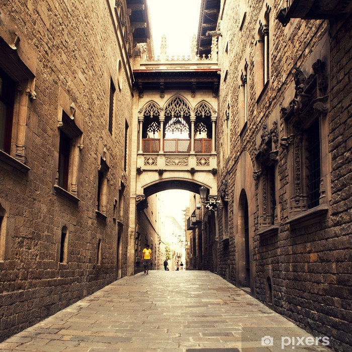 Vinyl Fotobehang Gothic straat met boog in Barcelona dicht bij Kathedraal. - Thema's