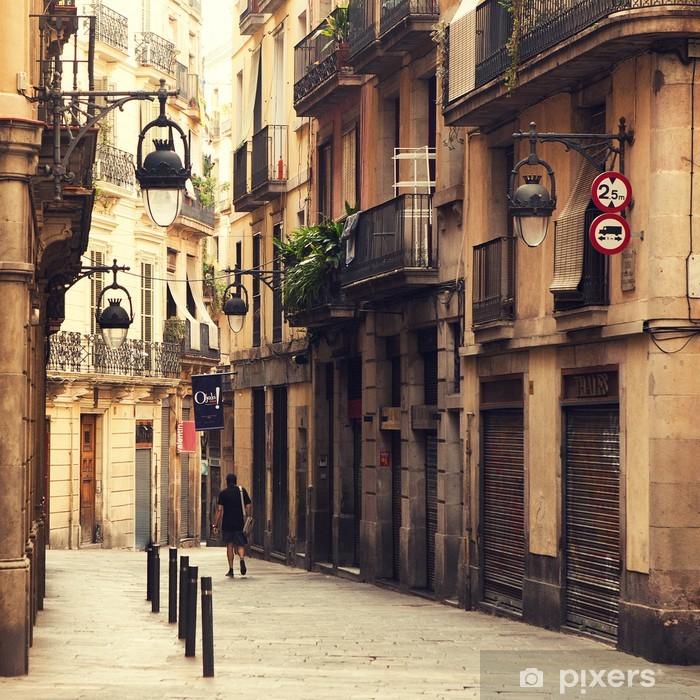 Pixerstick Sticker Straat in de Gotische wijk in Barcelona. - Thema's