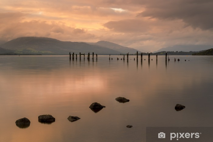Loch Lomond Jetty And Mountains At Sunset Wall Mural Pixers We Live To Change
