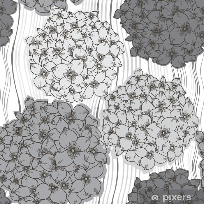 Vinyl Fotobehang Vector naadloze patroon met hortensia's. Monochrome bloem terug - Bloemen