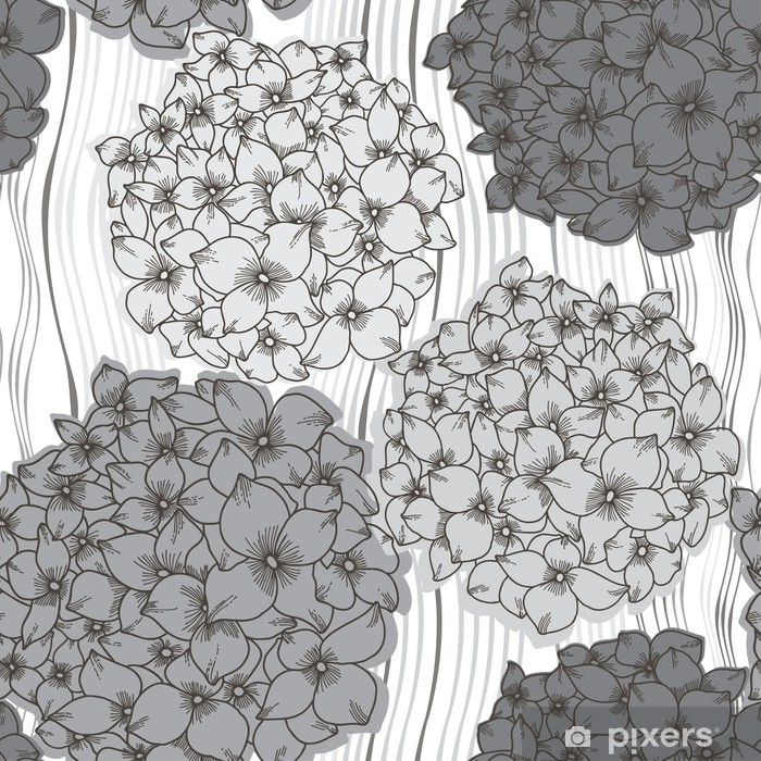 Vector seamless pattern with hydrangeas. Monochrome floral back Poster - Flowers