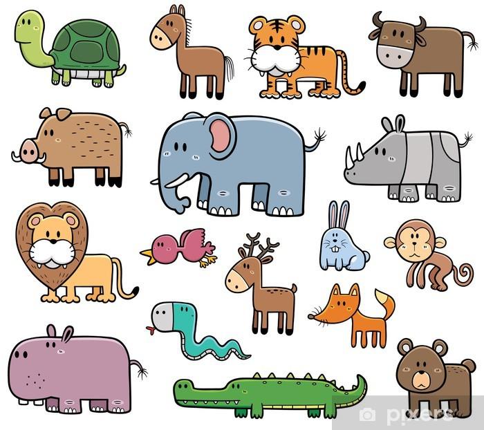 Sticker Pixerstick Illustration Vecteur de Cartoon Animaux Sauvages ensemble - Mammifères