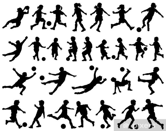 14abc574 Fototapet Barn som spiller fotball vektor silhuetter • Pixers® - Vi ...