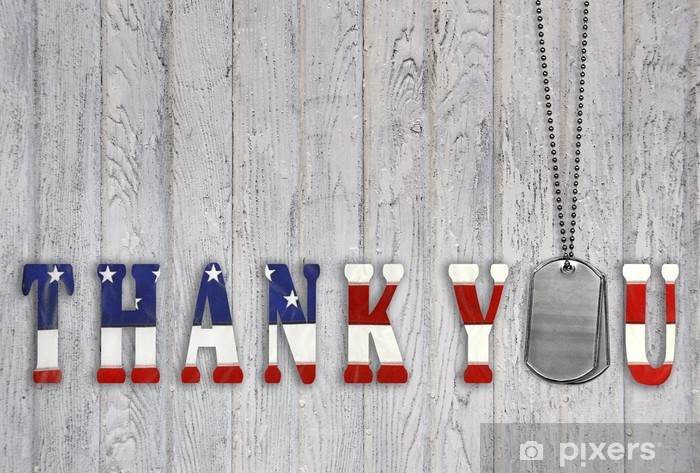 military dog tag thank you on wood Pixerstick Sticker - Themes