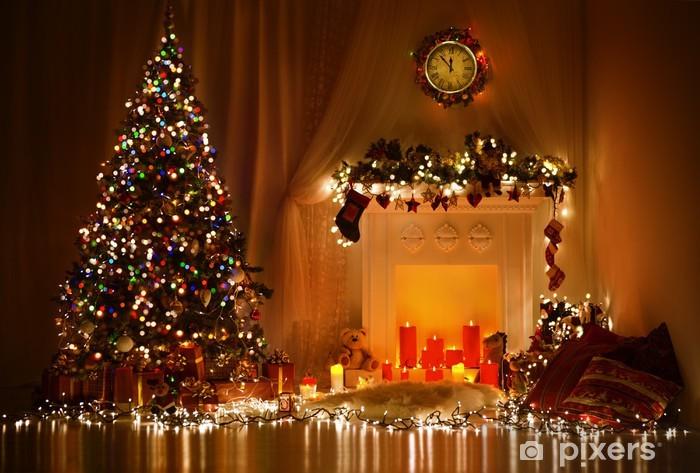 Christmas Room Interior Design, Xmas Tree Decorated By Lights Vinyl Wall Mural - Christmas