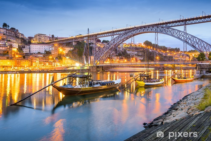 Porto, Portugal Town Skyline on the Douro River Vinyl Wall Mural - Themes
