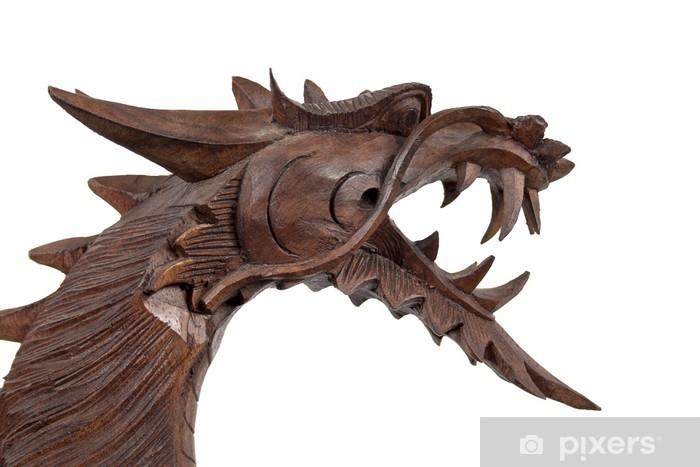 Papier peint vinyle Holz Schnitzerei Drache - Art et création
