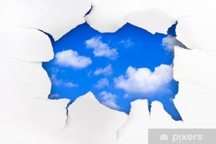 Papier peint vinyle Trou de papier et ciel - Liberté