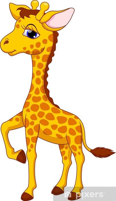 Fototapeta roztomil kreslen irafa pixers ijeme - Dessin de girafe en couleur ...