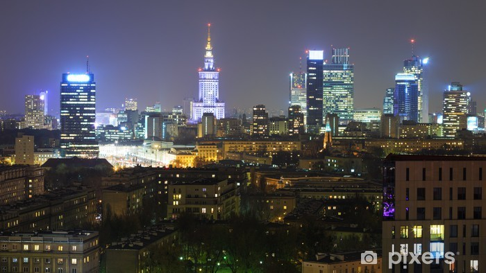 Panorama of Warsaw by night Vinyl Wall Mural - Themes
