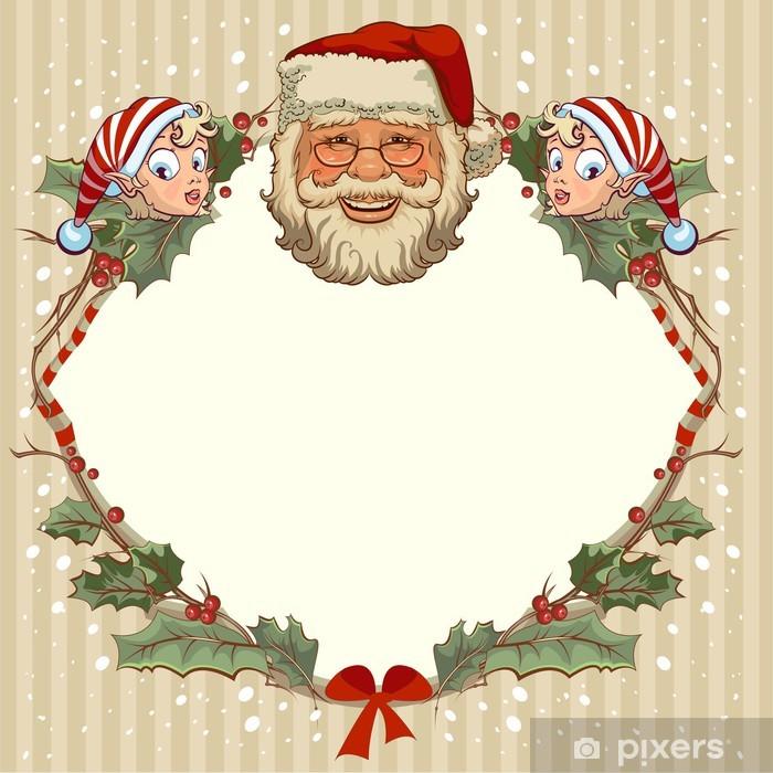 Plakat Szef Santa Claus i gnome. szablon kartki na Boże Narodzenie - Święta międzynarodowe