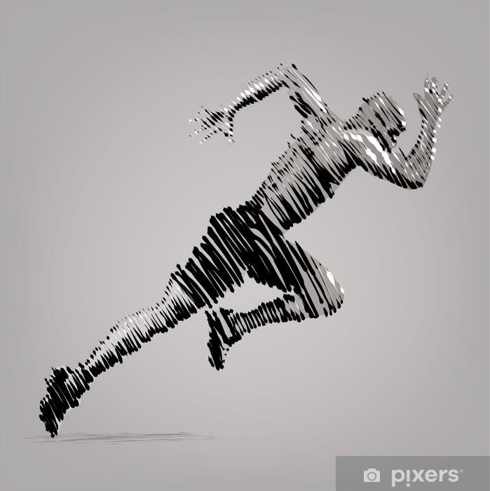 Papier peint coureur vector illustration dans le style de dessin l 39 encre pixers nous - Coureur dessin ...