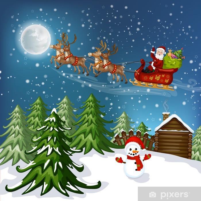 Wonderlijk Fotobehang Kerstman in slee met rendier • Pixers® - We leven om te SD-43