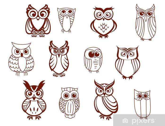 Sticker Pixerstick Ensemble de hiboux vectorielles - Oiseaux